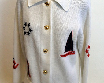 Knit Nautical Boats and Anchors Sweater Cardigan