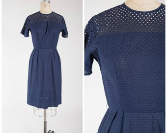 Vintage 1950s Dress • Never End • Navy Blue Embroidered 50s Sheath Dress Size Small