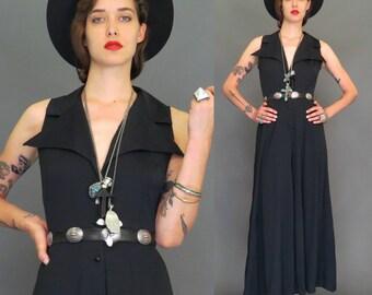 vintage 70s black stovepipe bell bottom jumpsuit // hippie jumper // boho