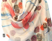 Silk Scarf Handpainted, Koi Scarf, Gift for her, Double Layered Scarf, Reversible Chrysanthemum and Red Koi Scarf, Chiffon, 22x72 inches.