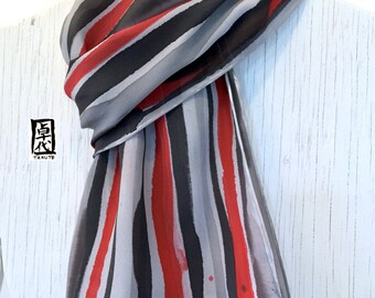 Large Mens Silk Scarf Handpainted, Black, White, Red Zen Stripes Scarf, Large Silk Scarf, Gift for men, Silk Crepe. 14x72 inches.