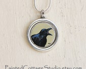 Raven Necklace, Pendant, Hand Painted, Michelle Meyer, Halloween Jewelry, Bird, Crow