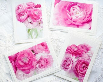 Pink Ranunculus Photo Notecards Set (4 total)