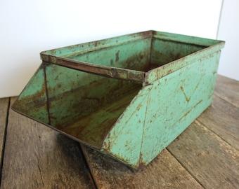Vintage Parts bin / Metal Bin / Teal Industrial Bin / Metal bin / Industrial salvage