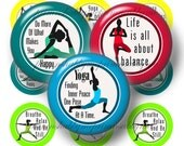 "Yoga, Bottle Cap Images, Digital Download, 1"" Circles, Yoga Sayings, Yoga Poses, 2 Digital Collage Sheets, Pendant, cabochon, Printable,"