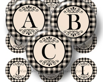 Alphabet, 20mm, 18mm, 16mm, 14mm, Circles, Bottle Cap Images, 1 Inch Circle, Digital Collage Sheets, Black and Tan Check, Jewelry Making
