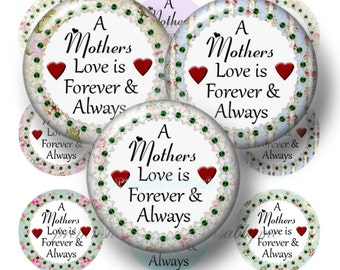 MOTHER, 1 Inch Circles, Bottle Cap Images, Digital Collage Sheet, A Mothers Love, Mom, For Magnets, Pendants, Glass Cabochons, Mothers Day