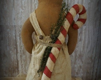 Primitive Gingerbread Girl with Candy Cane Christmas Decoration
