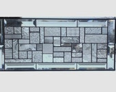 Beveled clear glass transom stained glass window panel geometric abstract stained glass panel window panel hanging large 0099