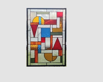 Stained glass window panel Arts and crafts clear blue red stained glass panel window hanging Mission prairie style 0025 21 3/4 x 14 3/4