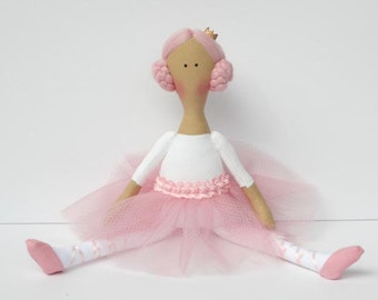 Princess doll, ballerina doll, cute fabric doll pink white cloth doll stuffed doll softie rag doll ballet dancer birthday gift for girls