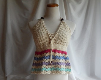 Crochet Halter Top - Sexy Lace Up Boho Festival Top With Beads - Pink, Blue, Purple, Aqua
