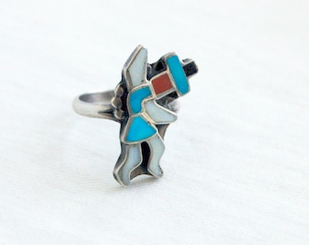 Zuni Kachina Dancer Ring Size 5 .75 Vintage Turquoise Red Coral Onyx Mother of Pearl Sterling Silver Southwest Folk Art