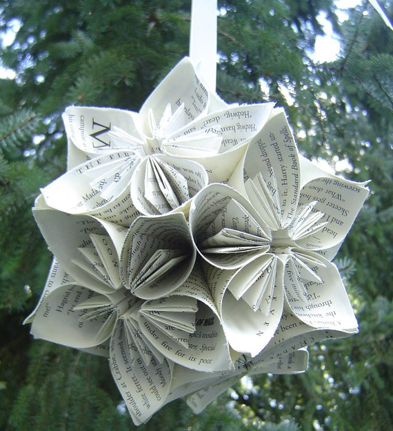 HUGE BOOK Paper Kusudama ball, Origami paper flowers, Great Gift or Decoration