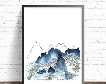 Abstract Mountain. Nature Watercolor Print. Mountain Art print. Mountain watercolor. Nature prints. Watercolor Mountains.