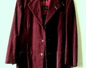 Corduroy Jacket boyfriend blazer burgundy maroon wine cotton sport coat vintage 70s tomboy unisex style men size 37 small union label