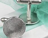 Fingerprint Cufflinks Cuff Links Custom made keepsake of pure .999 Fine Silver with Sterling Silver Gift for Birthday Dad Groom Him
