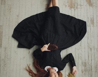 Black Linen Dress, Long sleeve, Women Fashion, Hand Made Clothing, Peter Pan Collar Dress,  Loose Dress, Linen Dress