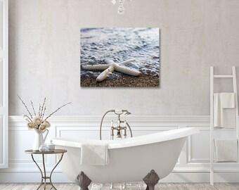Gallery Wrapped Canvas, Starfish Photo, Large Art, Beach Photography, Ocean Wall Decor, Seashell Photography, Coastal Art, Canvas Art