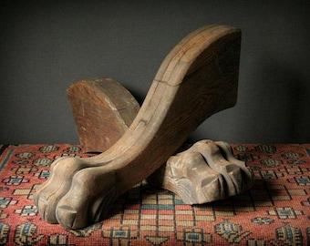 Oak lion paws, carved table legs, furniture fragments, salvage oak lion paws