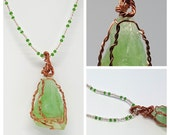 """OOAK Copper Wire Wrapped Raw and Natural North Carolina Mountain Green Garnet on 20"""" Beaded Necklace"""