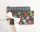 Gray Zipper Pouch, Pencil Pouch, Pencil Case, Floral or Modern, Gift,Teachers, Kids, School Supplies, Teens, Women, Organize