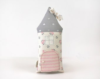 Tooth Fairy Pillow Cottage, Pink and Gray, Stuffed Toy, Decorative Pillow, Floral, Girls, Children, Toy, Keepsake, Special Occasion