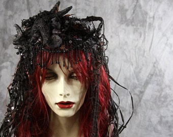 Vampire Mermaid SIREN Full Wig - red & black Headpiece Gothic Costume Fairy Steampunk