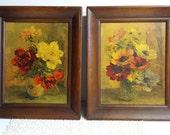 1950's Floral Prints Wood Frames