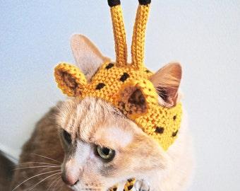 Giraffe Costume for Cats - Hand Knit Cat Hat - Cat Halloween Costume
