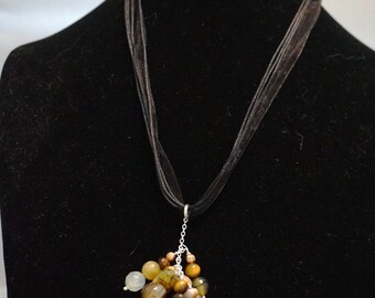 Mixed Cluster Drop Necklace