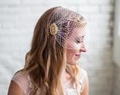 Birdcage veil, Wedding Veil, Gold veil, Rhinestone, Bandeau Bird cage Veil, Viser Veil, Crystal Veil, Bird Cage Veil, Wedding Birdcage veil