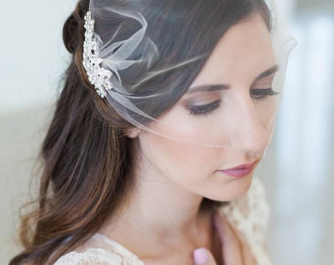 Birdcage veil, Blusher veil, Tulle Bridal Veil and Bridal Comb, Bandeau Birdcage Veil - QUICK SHIPPER - Wedding Veil with Crystal Comb