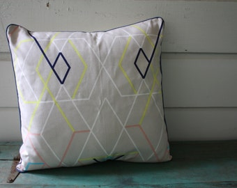 Neon Geometric Pillow, Decorative Pillow, Removable Pillow Cover, Envelope Back Pillow Cover