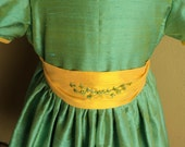 Girls custom non smocked silk dupioni dress with bow sash, band trimmed sleeves size 4/5