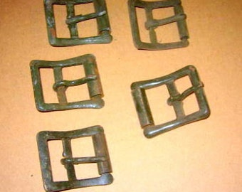 5 Vintage Metal  buckles  Steampunk, Assemblage, altered art or mixed media creative project.