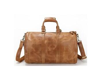Large tan brown genuine leather weekender duffel bag gym bag or travel bag for men