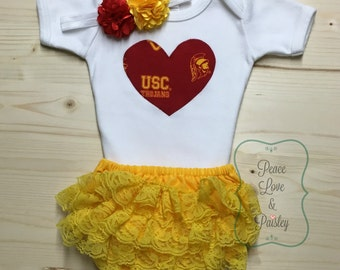 USC Bodysuit, Lace Diaper Cover and Headband Set Made from USC Fabric, University of So Cal Baby Outfit, USC Trojans Baby, Baby Girl usc