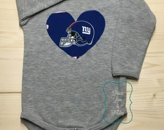 Giants Bodysuit with Heart Made from NY Giants Fabric, NY Giants Baby Girl, Baby Girl Giants, NFL Baby Girl, Baby Shower Gift