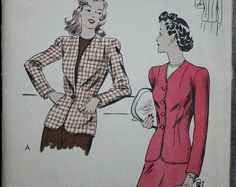 Vogue 9512 1940s 40s Fitted Collarless Jacket Vintage Sewing Pattern Size 14 Bust 32