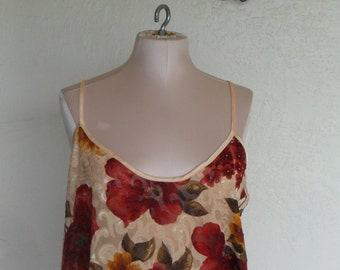 Vintage Camisole Floral Sheer Burn Out by Inner Most