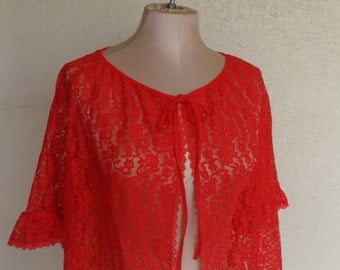 Red Sheer Lace Robe Baby Doll Bed Jacket Cover Up Medium