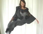 Nuno felted shawl - large scarf - wool and silk - fashion grey and black