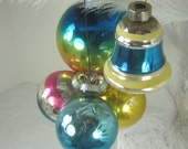 Vintage MERCURY GLASS ORNAMENTS Ombre FADeD Christmas Tree Set/5