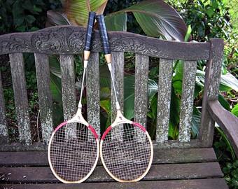 Vintage WOOD BADMINTON RACKET Set/2 Racquet Sports Decor Man Cave Den Office