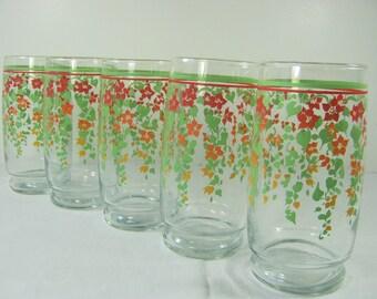 Vintage MORNING GLORY TUMBLER Set/5 Glasses Flowers Floral Glassware Glories