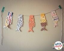 Koinobori paper and baker twine Garland. Japan kid symbol. Vintage Decoration kids room. Birth Gift | Papier Crepon