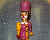 "Vintage Wooden Jointed Clown, All Moveable,10 1/4""H, Marked ANI, Chippy Paint, Shows Age, All Wood, Metal Fittings"