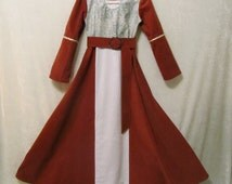Girl's Lucy Pevensie's Narnia Or Maid Marian Renaissance Dress With Belt Only: All Cotton & Linen Fabrics, Size 8, Ready To Ship