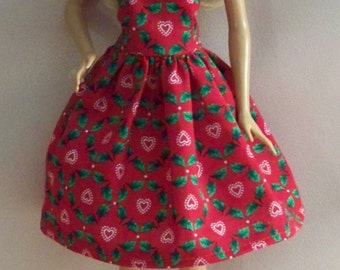 Handmade Barbie Clothes-Red Christmas with Holly Print Barbie Dress